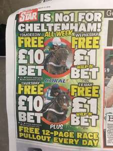 FREE Cheltenham bets with the Daily Star paper @ Coral