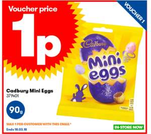 90g mini eggs 1p @ jtf - 1 per customer £5 min spend In-store only
