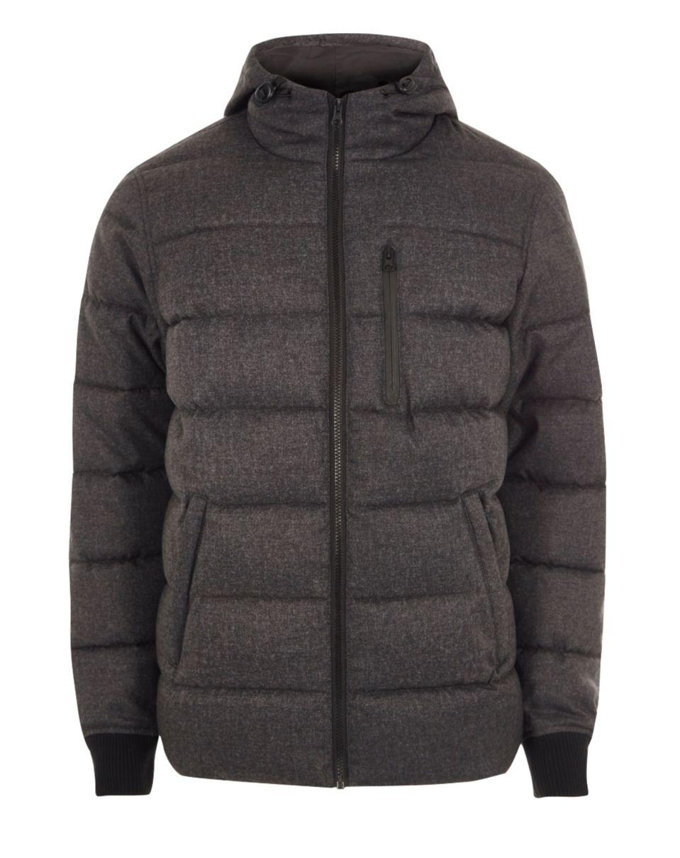 Grey Hooded Puffer Jacket (Medium) £30 @ River Island