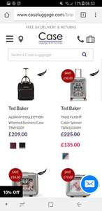 Ted baker sale on CASE with this suitcase £135. Luggage heavily discounted and all still full price from Ted baker direct