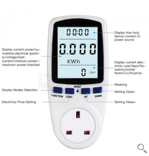 Power Energy Consumption Watt Meter - UK Plug £8.93 -  Zapals
