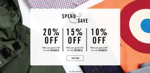 10% off £100 15% off £150  & 20% off £200  Spend with Codes @ Ben Sherman