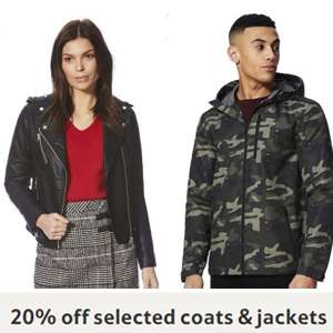 20% off Coats & Jackets - Baby & toddler from £6.40 / Men's From £16 / Women's from £17.60 @ F&F Clothing  (See OP)