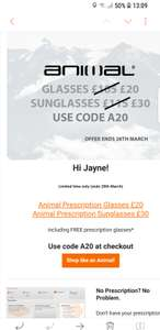 Animal - Designer Prescription Glasses + Lenses for £20 / Prescription Sunglasses for £30