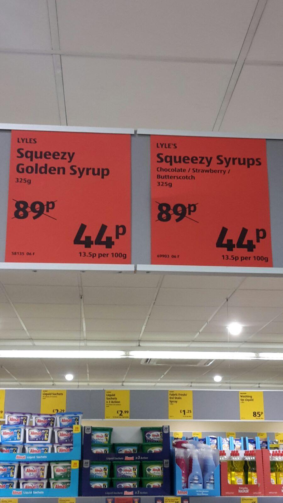 Lyles squeezy golden syrup 44p @ Aldi