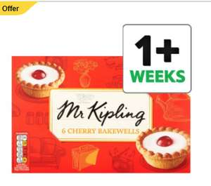 Half Price on Mr Kipling cakes – (Cherry Bakewells 6 Pack £0.82 / Bramley Apple Pies 6 Pack £0.82 / Angel slice 8 pack £1.15 / Trifle Bakwells 6 pack £0.82/ French Fancies 8 pack £0.89 + MANY MORE @ Tesco