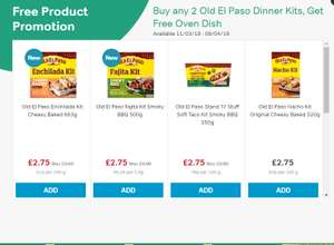 FREE Old El Paso Oven Dish when you buy any two dinner kits £2.75 @ iceland
