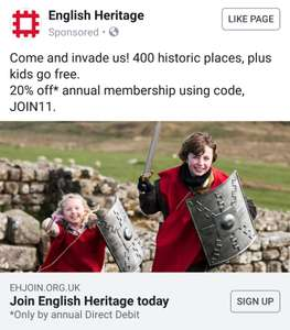 English Heritage - 20% off with voucher code