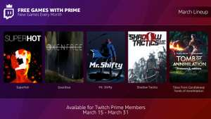 ** Now LIVE ** [PC] Superhot / Shadow Tactics / Tales from Candlekeep / Oxenfree / Mr. Shifty - Free in March with Amazon Twitch Prime