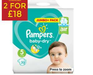 2 for £18 Pampers JUMBO pack of 72 nappies @ Asda