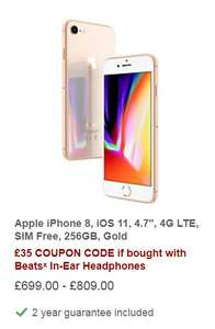 "Apple iPhone 8, iOS 11, 4.7"", 4G LTE, SIM Free, 256GB, Gold £699 @ John Lewis"
