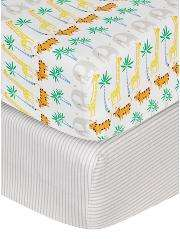 Pack of 2 cotbed toddler fitted sheets- tropical & stripe £9 @ Asda
