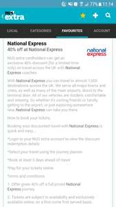 40% off national express tickets using  NUS extra