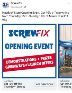 Screwfix Haydock 10% off Everything 15th - 18th march