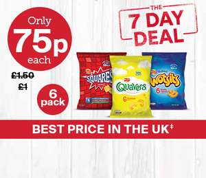Iceland 7 Day Deal. Wotsits, Quavers, Squares, 6pk 75p also Jacobs Crinklys &  Cheddars  6pk 75p