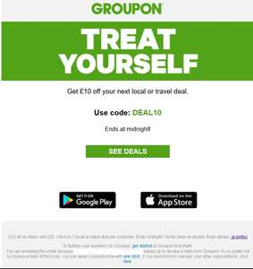 £10 Off £20+ Spend On Local Or Travel Deals @ Groupon, Ends Midnight Tonight - Account specific