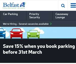 15% off Summer Parking at Belfast Int Airport