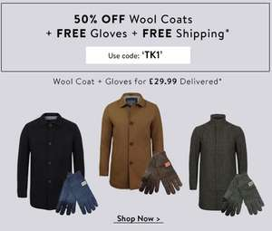 50% OFF Wool blend Coats + FREE Gloves + FREE Shipping - £29.99 @ Tokyo Laundry