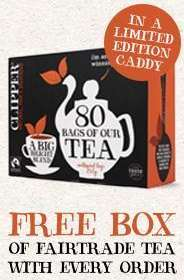 Free Tea Caddy & 80 Organic Tea Bags with any order at Clipper Teas