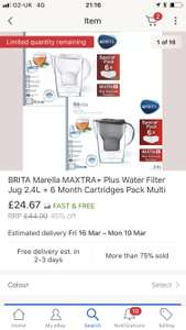 Brita Marella jug + 6 filter cartridges eBay - £24.67 @ eBay (seller: Ozaroo UK)