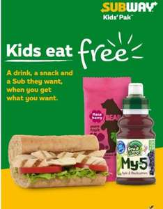 "Subway Kids eat free until 17th April with purchase of a 6"" meal"