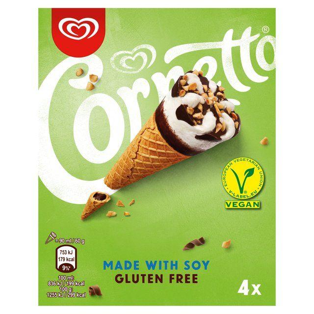 Cornetto Made with Soy & Gluten Free Ice Cream Cone 4x90ml - Sainsbury's - £2.50