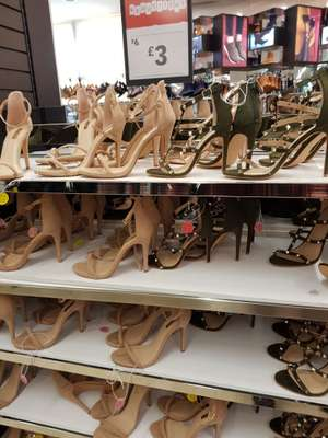 Strappy nude / studded khaki heels marked at £3 at Primark