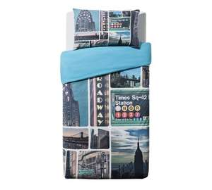 Home NY signs \ plain blue reversible bedding set- single £6.49 at Argos