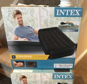 Intex Unisex Twin Raised M/P 64122 Air Bed, Blue/Anthracite instore £6.56 @ TESCO