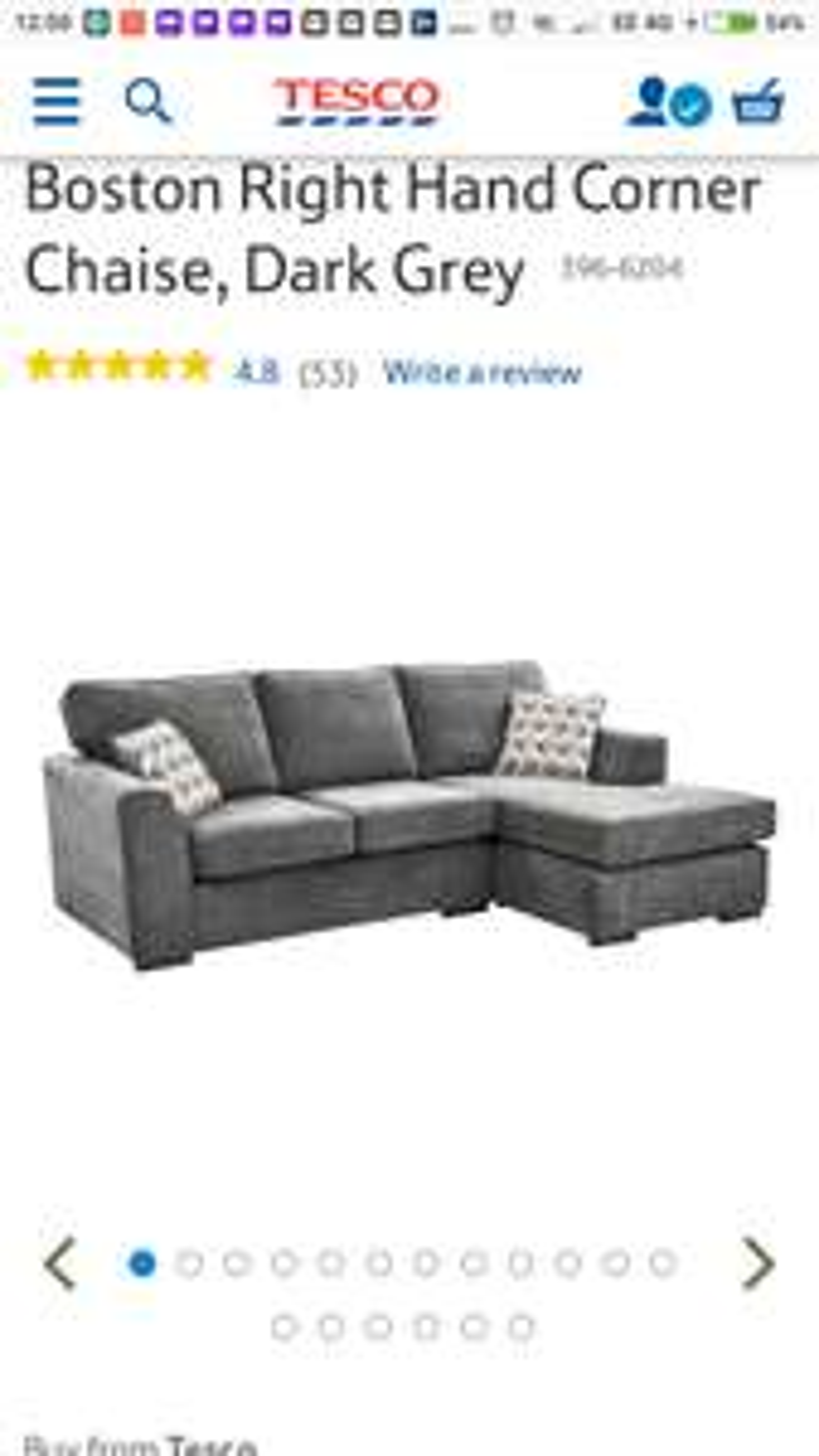 Tesco Boston Corner chaise sofa back on sale - £384 Delivered