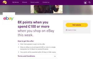 Shop on ebay and spend £100 to earn 8X Nectar points (Account specific)