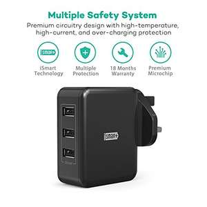 RAVPower 30W 6A 3-Port USB Wall Charger at £8.39 (Prime) £12.38 (Non Prime) Sold by Sunvalleytek-UK & Fulfilled by Amazon