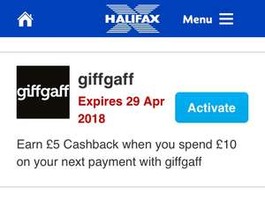 Halifax/Giff Gaff 2 x £5 cashback on £10 top ups