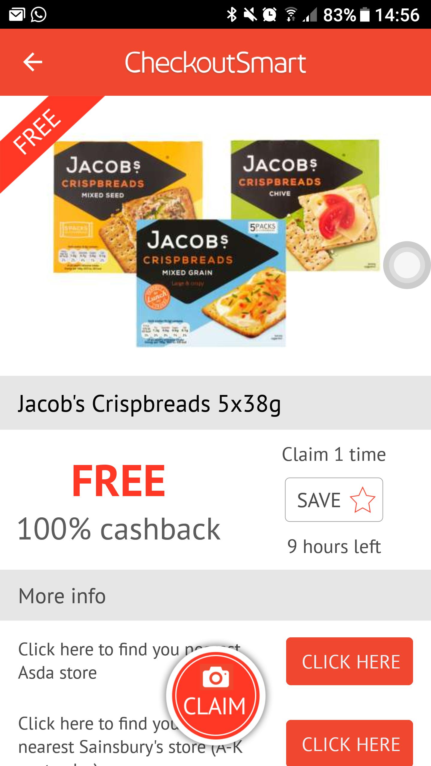 Free jacobs crackers via checkoutsmart when buying at Tesco/Sainsbury's/ASDA