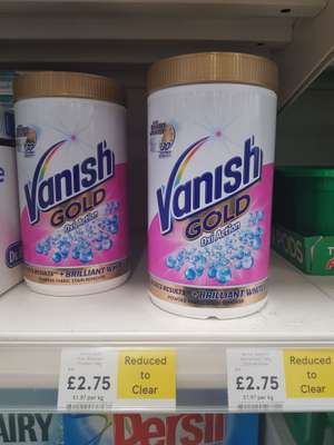Vanish Gold Oxi Action both colour and white stain remover reduced to clear £2.75 at Chorley Buckshaw Tesco. Normally £11