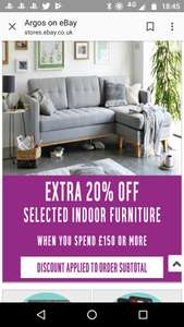 Argos eBay Furniture 20% off when you spend £150 or more