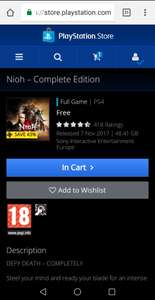 Nioh Complete Edition - Free on PSN (selected accounts)