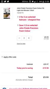John Frieda dye at boots 3 for 2 + 30% off (9.99 +p&p instead of 29.99)
