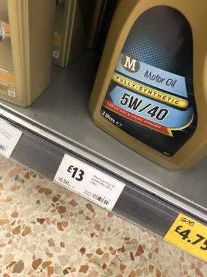 Morissons 2l fully synthetic oil £6.50 on shelf £13