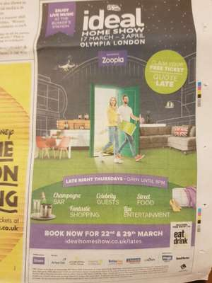 FREE Thursdays evening tickets for Ideal Home Show (Also includes entry to Eat & Drink Festival) on 22nd or 29th March 18 after 5pm at Olympia London.