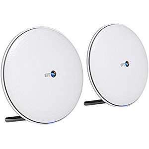 BT Whole Home Wi-Fi, Pack of 2 Discs, Mesh Wi-Fi for seamless, speedy (AC2600) connection £99.99 @ Amazon