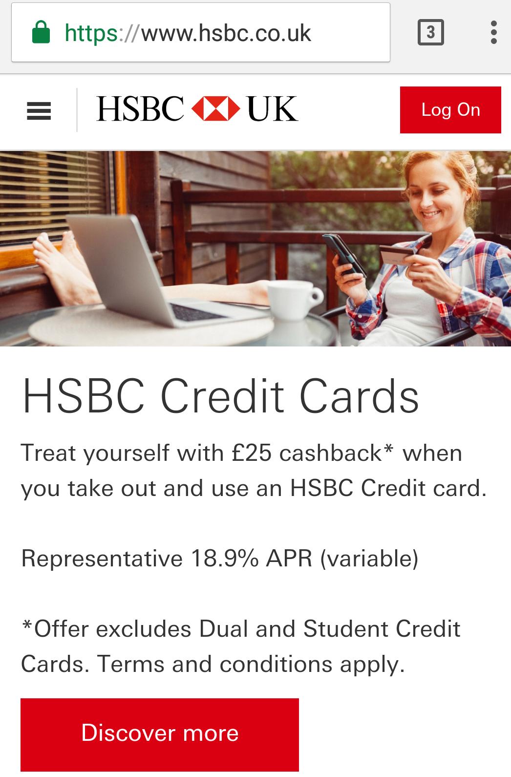 £25 Cashback - HSBC 32 Month Balance Transfer Credit Card