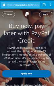 0% interest for 4 months on all purchases of £150 or more again and again - PayPal Credit