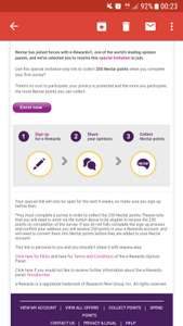 250 nectar points for filling out a survey. Sellected accounts only