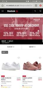 Up to 25% Off at Reebok outlet