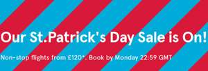 "Norweigan Air St Patricks Weekend Sale ""Non-stop flights from £120*"""