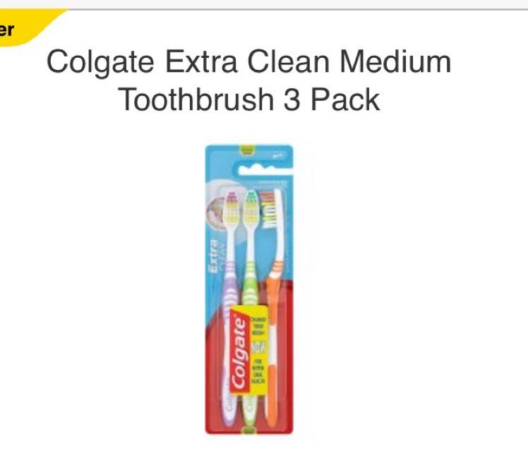Colgate Extra Clean Medium Toothbrush 3 Pack - £1 @ Tesco