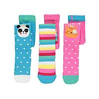 Animal face \ Sparkle pack of 3 assorted girls tights £3 @ Asda