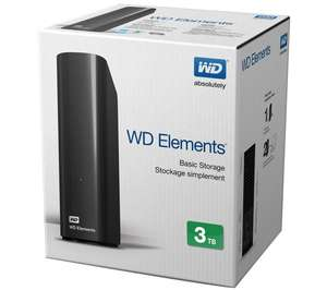 WD Elements External Hard Drive - 3 TB, Black now £69.97 @ Currys (+ 2 Years Guarantee)