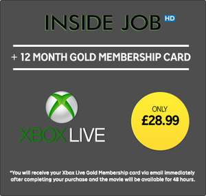 12 Months XBL Membership + Inside Job HD Rental £28.99  @ RakutenTV